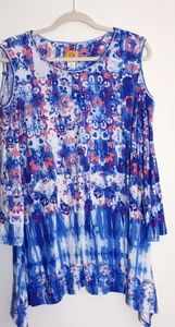 Ruby Road XL White Blue Floral Cold Shoulder Top